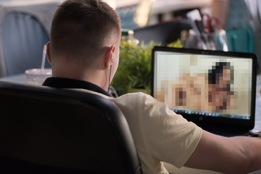 Man Watching Porn on Laptop - Porn Addiction
